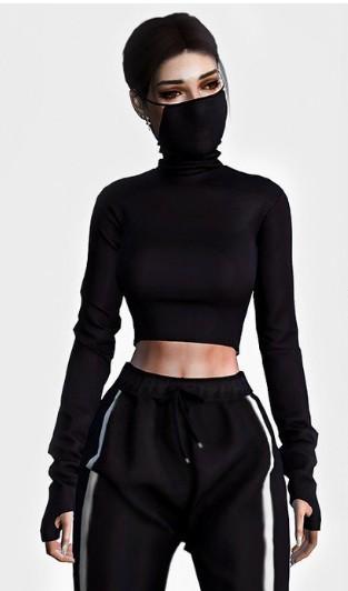 模拟人生4带面罩的女性上衣MOD